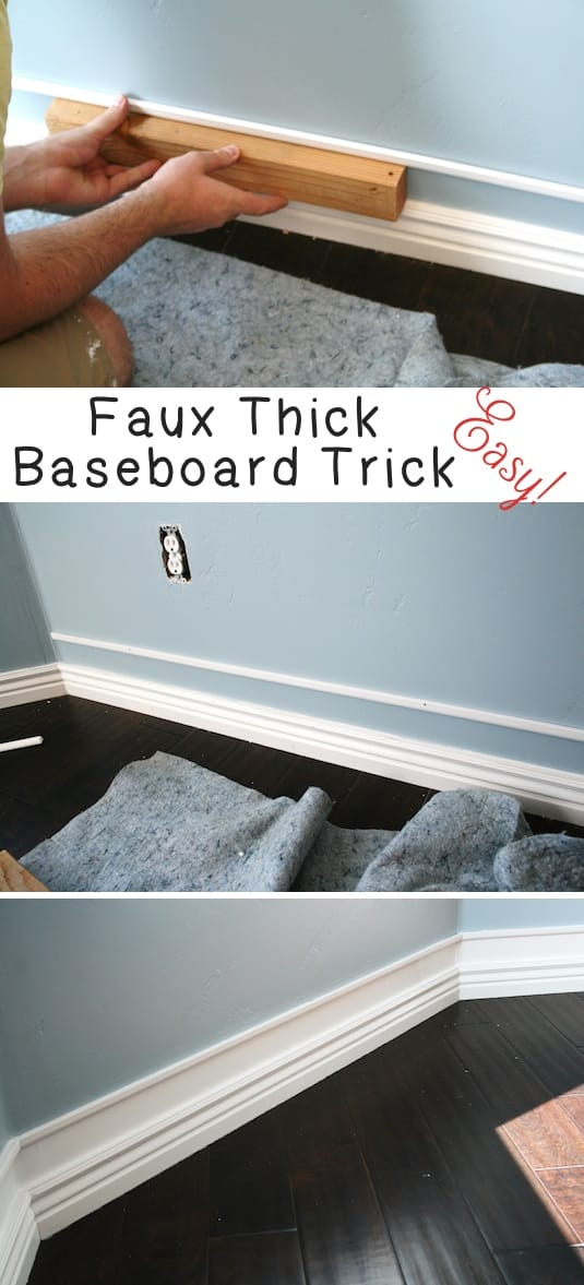 Baseboard and trim idea to make them look bigger! -- A list of some of the best home remodeling ideas on a budget. Easy DIY, cheap and quick updates for your kitchen, living room, bedrooms and bathrooms to help sell your house! Lots of before and after photos to get you inspired! Fixer Upper, here we come. Listotic.com