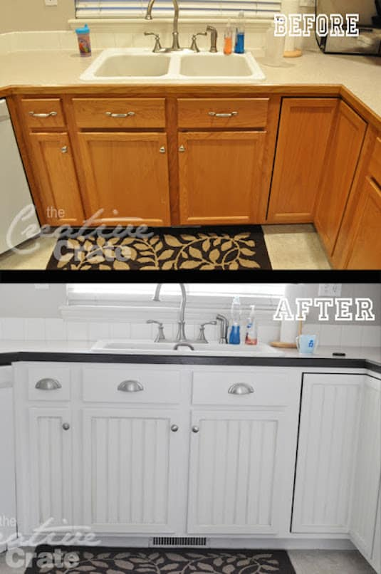 Easy way to update old cabinets for cheap. -- A list of some of the best home remodeling ideas on a budget. Easy DIY, cheap and quick updates for your kitchen, living room, bedrooms and bathrooms to help sell your house! Lots of before and after photos to get you inspired! Fixer Upper, here we come. Listotic.com