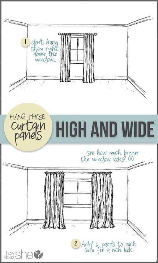 Curtain hanging tip. -- A list of some of the best home remodeling ideas on a budget. Easy DIY, cheap and quick updates for your kitchen, living room, bedrooms and bathrooms to help sell your house! Lots of before and after photos to get you inspired! Fixer Upper, here we come. Listotic.com