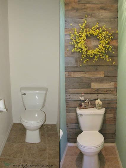 How to install a wood accent wall in your bathroom. -- A list of some of the best home remodeling ideas on a budget. Easy DIY, cheap and quick updates for your kitchen, living room, bedrooms and bathrooms to help sell your house! Lots of before and after photos to get you inspired! Fixer Upper, here we come. Listotic.com