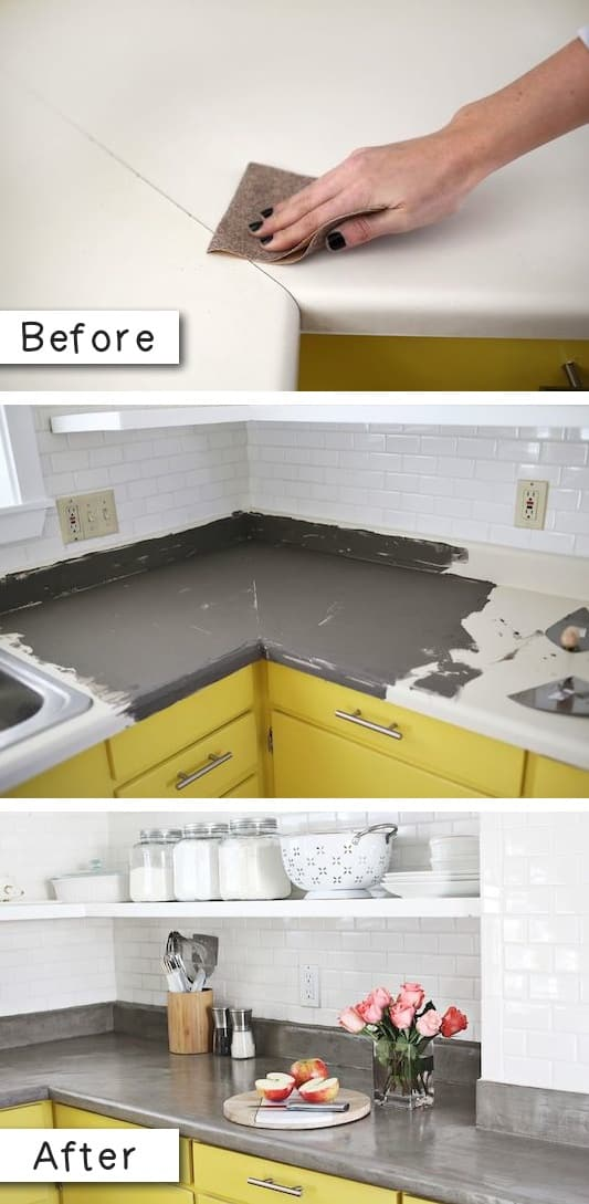 Easy way to update laminate countertops for cheap on a budget. -- A list of some of the best home remodeling ideas on a budget. Easy DIY, cheap and quick updates for your kitchen, living room, bedrooms and bathrooms to help sell your house! Lots of before and after photos to get you inspired! Fixer Upper, here we come. Listotic.com