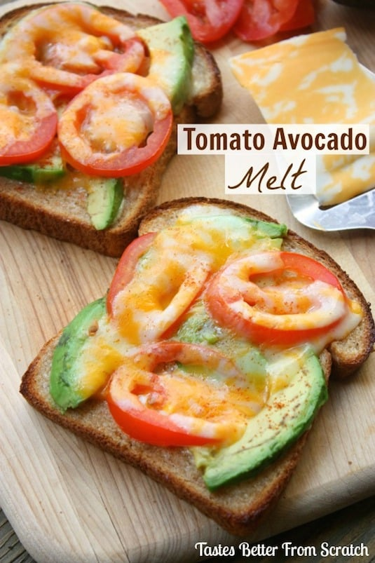 Tomato Avocado Melt (easy and yummy!) -- Quick, fast and easy breakfast recipe ideas for a crowd (brunches and potlucks)! Some of these are make ahead, some are healthy, and some are simply amazing! Everything from eggs to crockpot casseroles! Your mornings just got a little better. Listotic.com