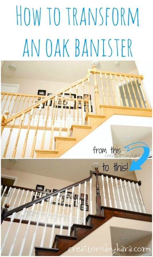 Update your oak banisters with paint and stain. -- A list of some of the best home remodeling ideas on a budget. Easy DIY, cheap and quick updates for your kitchen, living room, bedrooms and bathrooms to help sell your house! Lots of before and after photos to get you inspired! Fixer Upper, here we come. Listotic.com