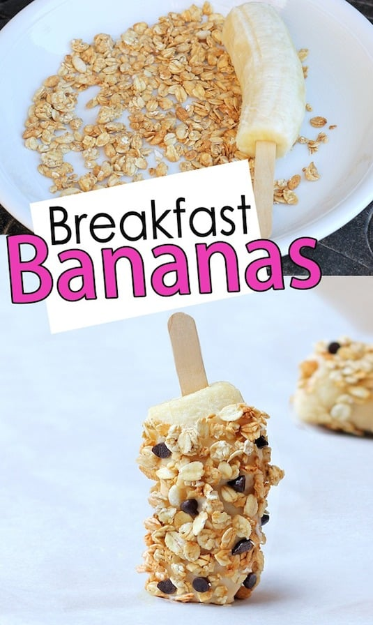 Breakfast Banana Pops (easy for kids!) -- Quick, fast and easy breakfast recipe ideas for a crowd (brunches and potlucks)! Some of these are make ahead, some are healthy, and some are simply amazing! Everything from eggs to crockpot casseroles! Your mornings just got a little better. Listotic.com