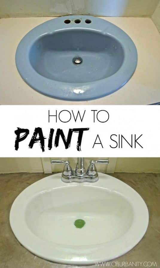 How to restore an old sink for cheap. -- A list of some of the best home remodeling ideas on a budget. Easy DIY, cheap and quick updates for your kitchen, living room, bedrooms and bathrooms to help sell your house! Lots of before and after photos to get you inspired! Fixer Upper, here we come. Listotic.com