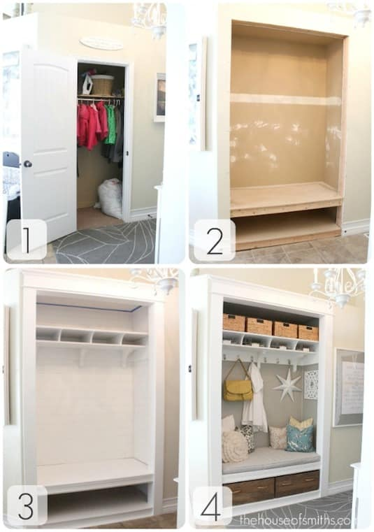 Transform a closet into an open space (works for office space in