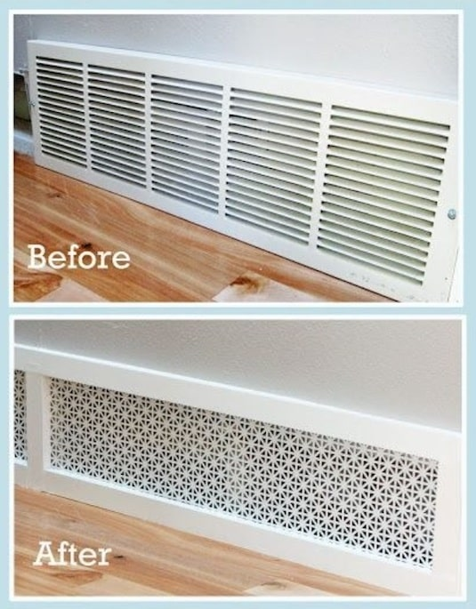 Give your return air grille a makeover. -- A list of some of the best home remodeling ideas on a budget. Easy DIY, cheap and quick updates for your kitchen, living room, bedrooms and bathrooms to help sell your house! Lots of before and after photos to get you inspired! Fixer Upper, here we come. Listotic.com