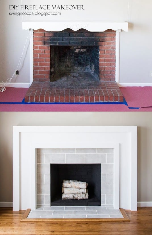 DIY fireplace makeover, before and after. -- A list of some of the best home remodeling ideas on a budget. Easy DIY, cheap and quick updates for your kitchen, living room, bedrooms and bathrooms to help sell your house! Lots of before and after photos to get you inspired! Fixer Upper, here we come. Listotic.com