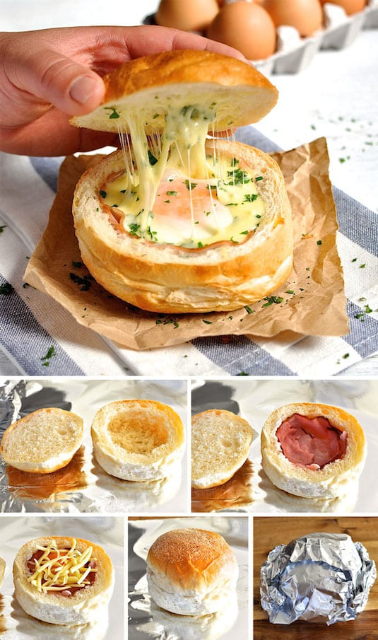 Cheesy Ham & Egg Bread Bowls -- Quick, fast and easy breakfast recipe ideas for a crowd (brunches and potlucks)! Some of these are make ahead, some are healthy, and some are simply amazing! Everything from eggs to crockpot casseroles! Your mornings just got a little better. Listotic.com