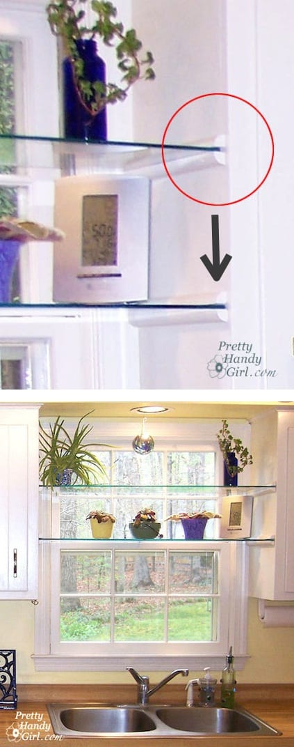 Install glass shelves in your kitchen window for plants and herbs! Great idea for small spaces. -- A list of some of the best home remodeling ideas on a budget. Easy DIY, cheap and quick updates for your kitchen, living room, bedrooms and bathrooms to help sell your house! Lots of before and after photos to get you inspired! Fixer Upper, here we come. Listotic.com