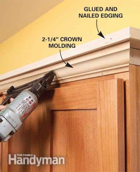 Add molding to the top of your builder grade cabinets to make them look more expensive and custom! -- A list of some of the best home remodeling ideas on a budget. Easy DIY, cheap and quick updates for your kitchen, living room, bedrooms and bathrooms to help sell your house! Lots of before and after photos to get you inspired! Fixer Upper, here we come. Listotic.com