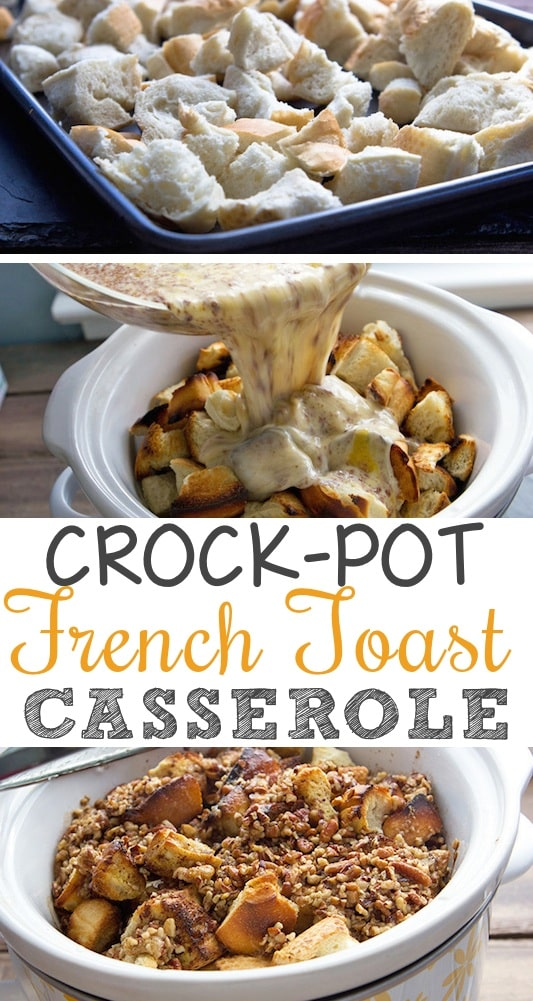 Crock-Pot French Toast Casserole -- Quick, fast and easy breakfast recipe ideas for a crowd (brunches and potlucks)! Some of these are make ahead, some are healthy, and some are simply amazing! Everything from eggs to crockpot casseroles! Your mornings just got a little better. Listotic.com