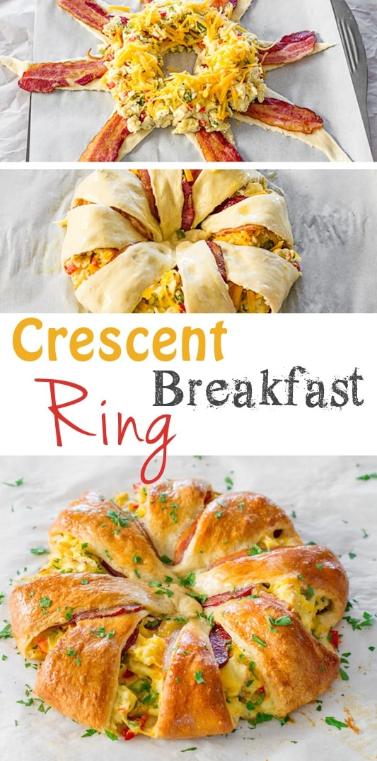 Crescent Breakfast Ring -- Quick, fast and easy breakfast recipe ideas for a crowd (brunches and potlucks)! Some of these are make ahead, some are healthy, and some are simply amazing! Everything from eggs to crockpot casseroles! Your mornings just got a little better. Listotic.com
