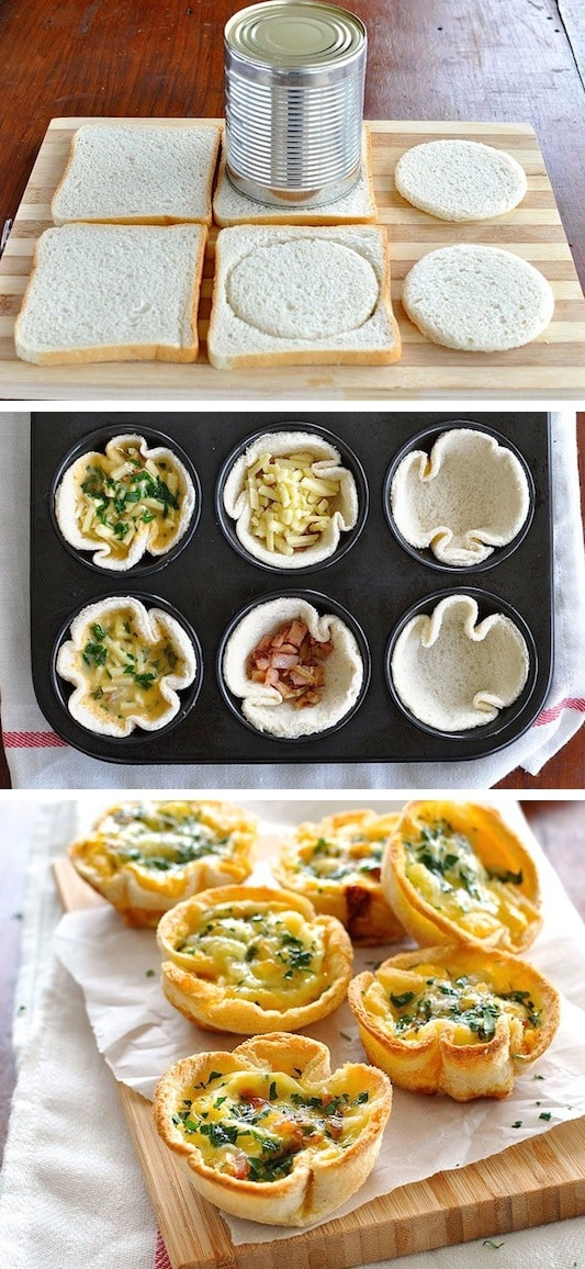 Quiche Toast Cups (Looks so fun to make!) -- Quick, fast and easy breakfast ideas for a crowd (brunches and potlucks)! Some of these are make ahead, some are healthy, and some are simply amazing! Everything from eggs to crockpot casseroles! Your mornings just got a little better. Listotic.com