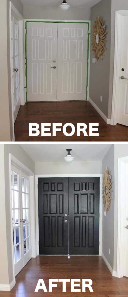 Paint the inside of your entry door a color that pops. Easy way to update your entryway! -- A list of some of the best home remodeling ideas on a budget. Easy DIY, cheap and quick updates for your kitchen, living room, bedrooms and bathrooms to help sell your house! Lots of before and after photos to get you inspired! Fixer Upper, here we come. Listotic.com