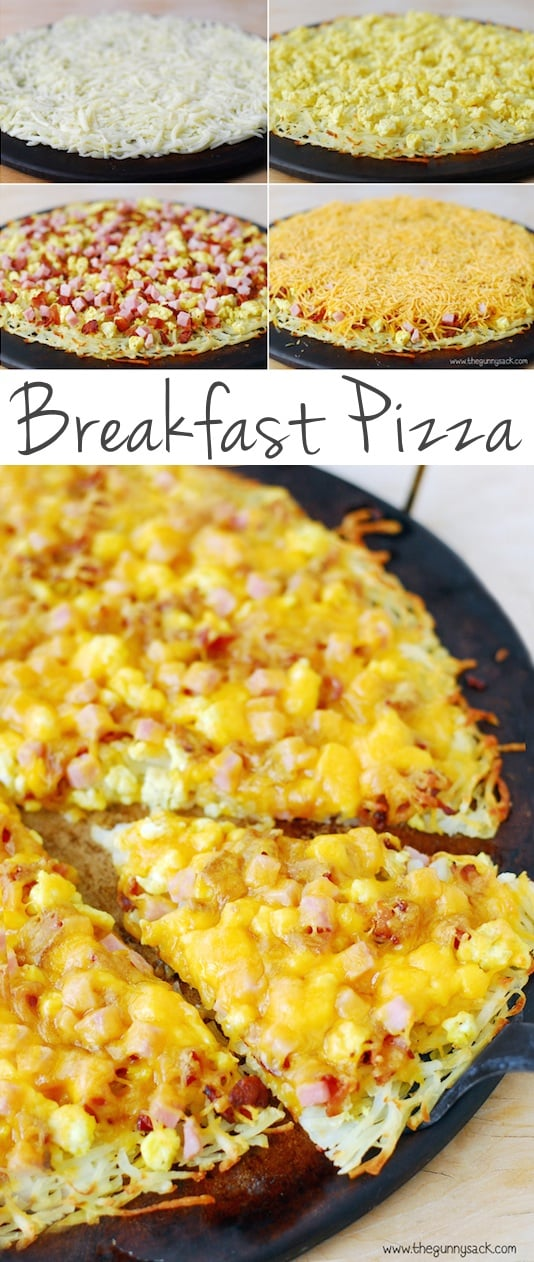 Breakfast Pizza with a Hash Brown Crust -- Quick, fast and easy breakfast recipe ideas for a crowd (brunches and potlucks)! Some of these are make ahead, some are healthy, and some are simply amazing! Everything from eggs to crockpot casseroles! Your mornings just got a little better. Listotic.com