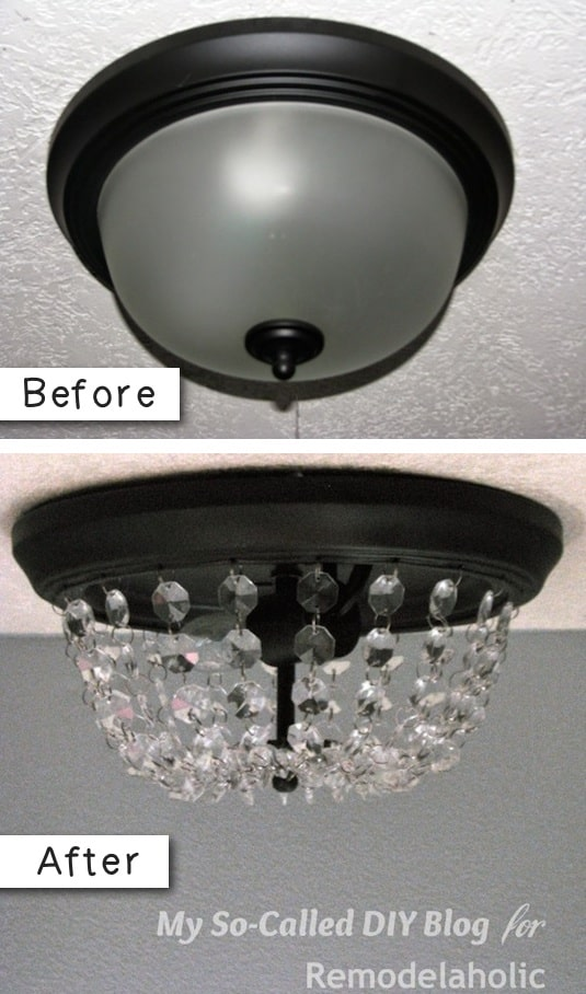 How to update an old light fixture on a budget. -- A list of some of the best home remodeling ideas on a budget. Easy DIY, cheap and quick updates for your kitchen, living room, bedrooms and bathrooms to help sell your house! Lots of before and after photos to get you inspired! Fixer Upper, here we come. Listotic.com