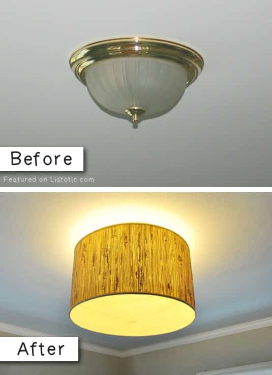How to update old light fixtures for cheap. -- A list of some of the best home remodeling ideas on a budget. Easy DIY, cheap and quick updates for your kitchen, living room, bedrooms and bathrooms to help sell your house! Lots of before and after photos to get you inspired! Fixer Upper, here we come. Listotic.com