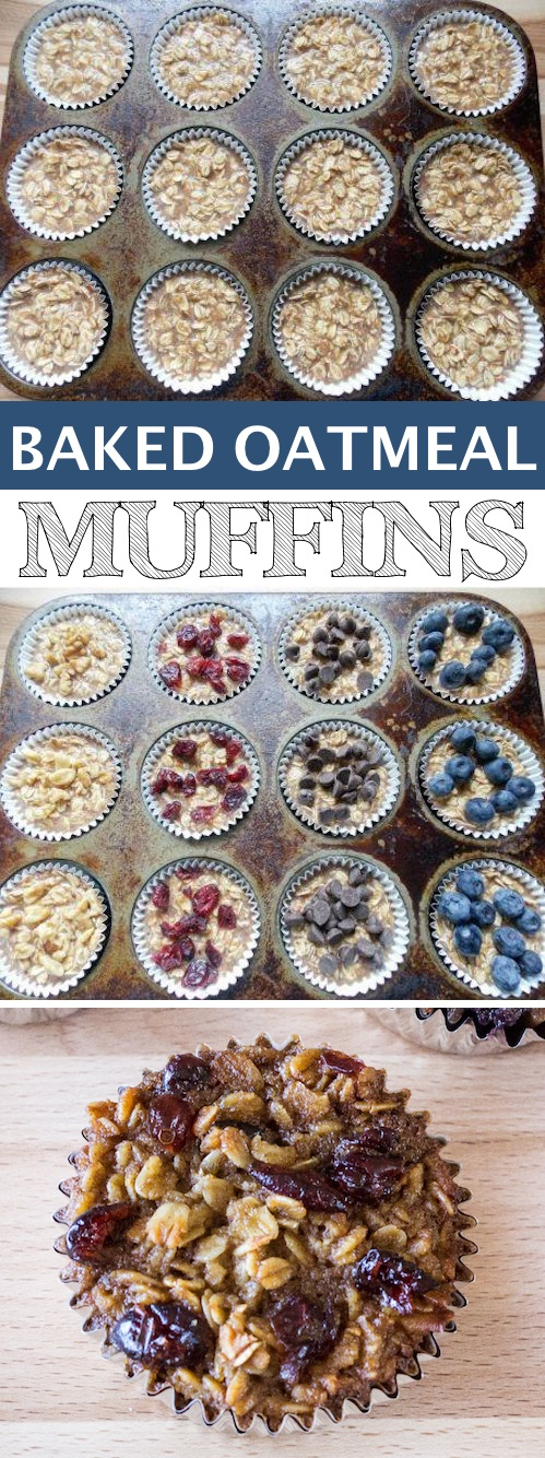 Baked Oatmeal Muffins (Great for on-the-go!) -- Quick, fast and easy breakfast recipe ideas for a crowd (brunches and potlucks)! Some of these are make ahead, some are healthy, and some are simply amazing! Everything from eggs to crockpot casseroles! Your mornings just got a little better. Listotic.com
