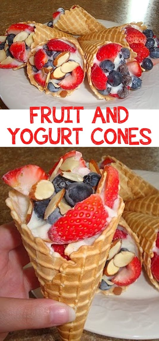 Fruit & Yogurt Cones (perfect for camping! Kids love these.) -- Quick, fast and breakfast recipe for a crowd (brunches and potlucks)! Some of these are make ahead, some are healthy, and some are simply amazing! Everything from eggs to crockpot casseroles! Your mornings just got a little better. Listotic.com