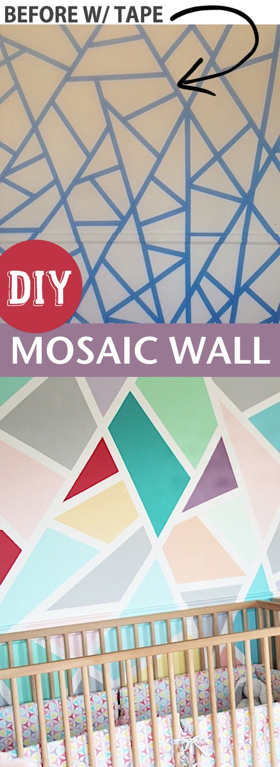 Easy DIY home decor idea for a bedroom: create a fun accent wall with painter's tape! This mosaic wall is easy enough for anyone to do! Super fun for a nursery or play room. Listotic.com
