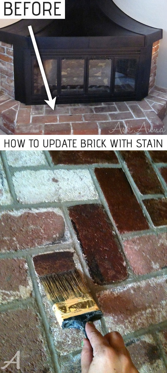 How to update a brick fireplace surround the easy way with concrete stain! Super cheap and budget friendly! A list of some of the best home remodeling ideas on a budget. Easy DIY, cheap and quick updates for your kitchen, living room, bedrooms and bathrooms to help sell your house! Lots of before and after photos to get you inspired! Fixer Upper, here we come. Listotic.com