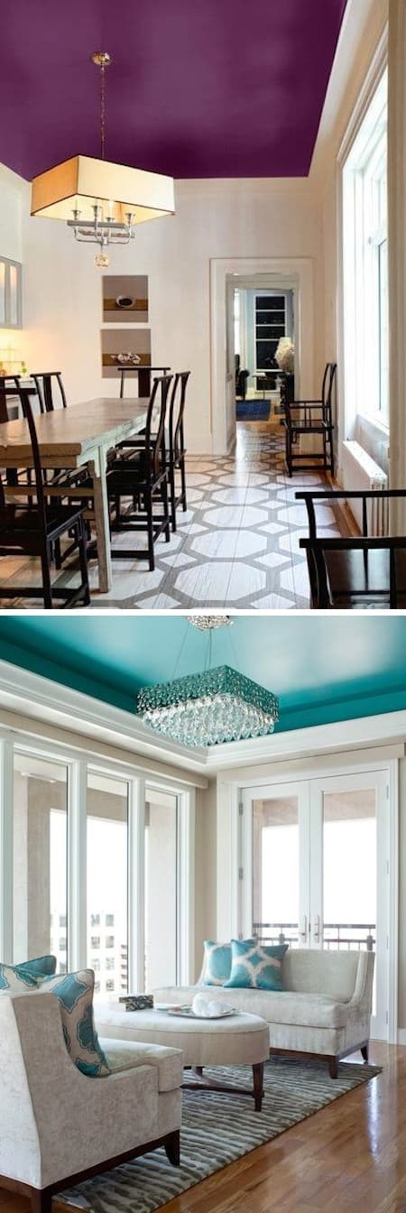 Use an accent color on your ceilings -- A list of some of the best home remodeling ideas on a budget. Easy DIY, cheap and quick updates for your kitchen, living room, bedrooms and bathrooms to help sell your house! Lots of before and after photos to get you inspired! Fixer Upper, here we come. Listotic.com