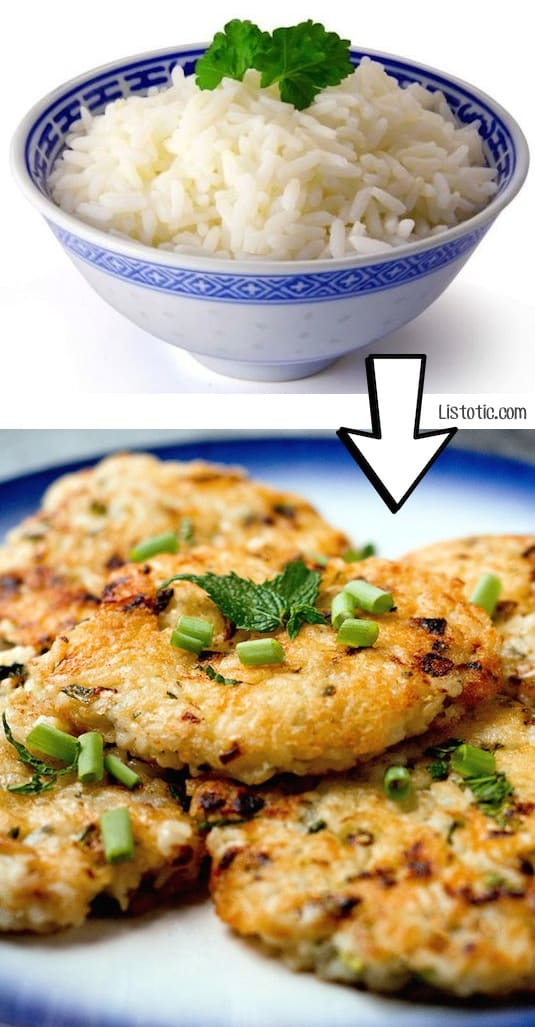 #19. Use leftover rice to make yummy rice patties! | 24 Creative Ways To Use Leftovers