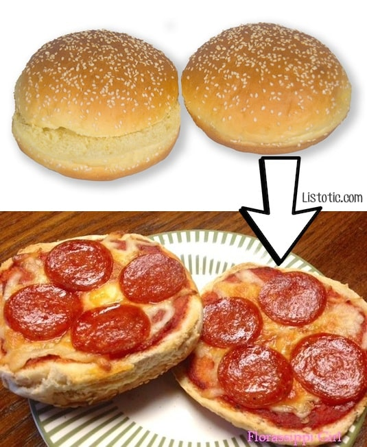 #2. Turn left over hamburger buns into mini pizzas! | 24 Creative Ways To Use Leftovers