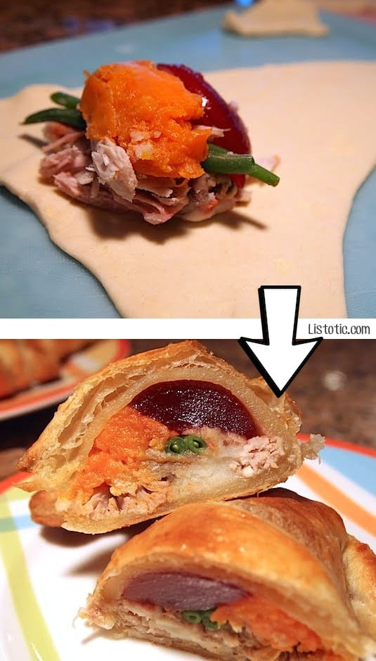 #23. Roll up your Thanksgiving leftovers in a crescent roll for brunch the next day! | 24 Creative Ways To Use Leftovers