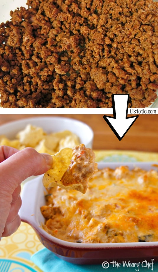 #3. Turn leftover ground beef into a cheesy mexican dip!   24 Creative Ways To Use Leftovers