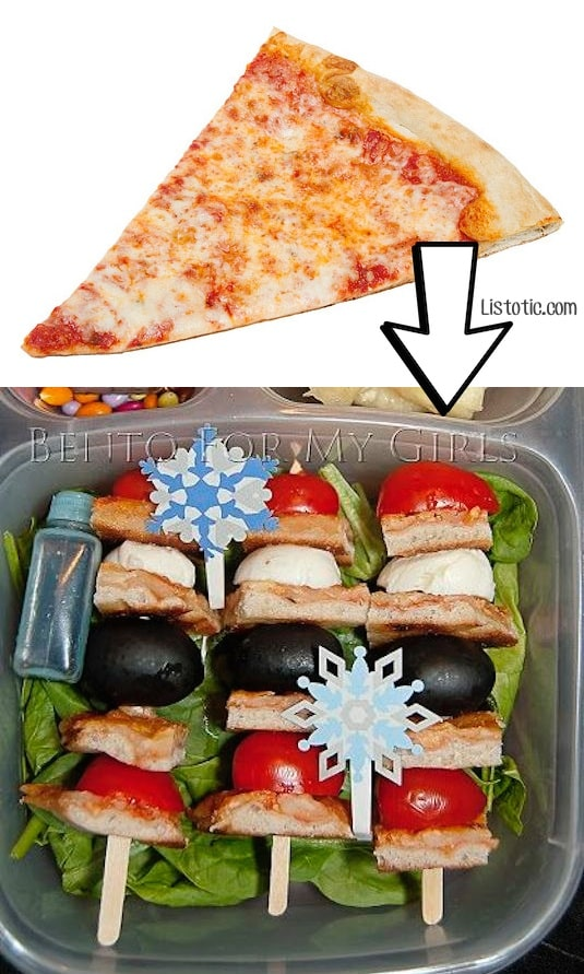 #7. Use leftover pizza to make pizza skewers for school lunches! | 24 Creative Ways To Use Leftovers