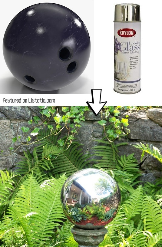 Make your own DIY mirrored gazing ball with spray paint! -- Home decor ideas for cheap! Lots of Awesome and Easy DIY spray paint ideas for projects, home decor, wall art and furniture!! This makes refurbishing old things so much fun! Just visit thrift stores and dollar stores to make things on a budget! Listotic.com