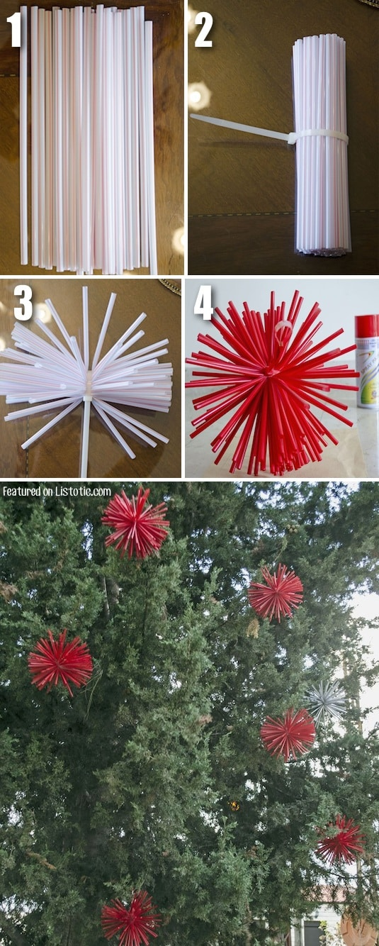 Make extra large ornaments with straws and spray paint. Awesome DIY Cheap Christmas decor idea!! -- Home decor ideas for cheap! Lots of Awesome and Easy DIY spray paint ideas for projects, home decor, wall art and furniture!! This makes refurbishing old things so much fun! Just visit thrift stores and dollar stores to make things on a budget! Listotic.com