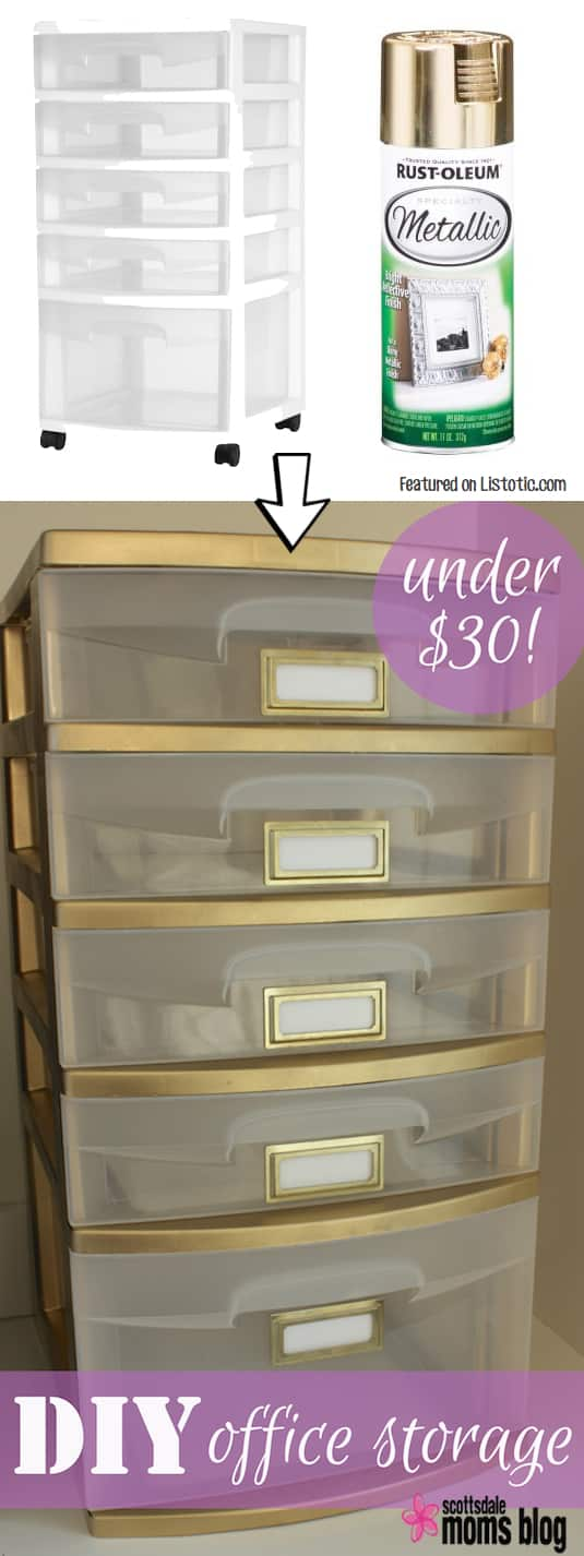 Give your plastic storage drawers a face-lift with spray paint! Perfect for a home office. -- Home decor ideas for cheap! Lots of Awesome and Easy DIY spray paint ideas for projects, home decor, wall art and furniture!! This makes refurbishing old things so much fun! Just visit thrift stores and dollar stores to make things on a budget! Listotic.com