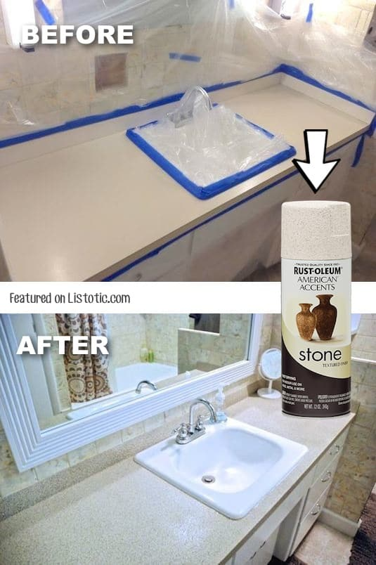 How to update your countertops with stone spray paint for cheap! -- Home decor ideas for cheap! Lots of Awesome and Easy DIY spray paint ideas for projects, home decor, wall art and furniture!! This makes refurbishing old things so much fun! Just visit thrift stores and dollar stores to make things on a budget! Listotic.com