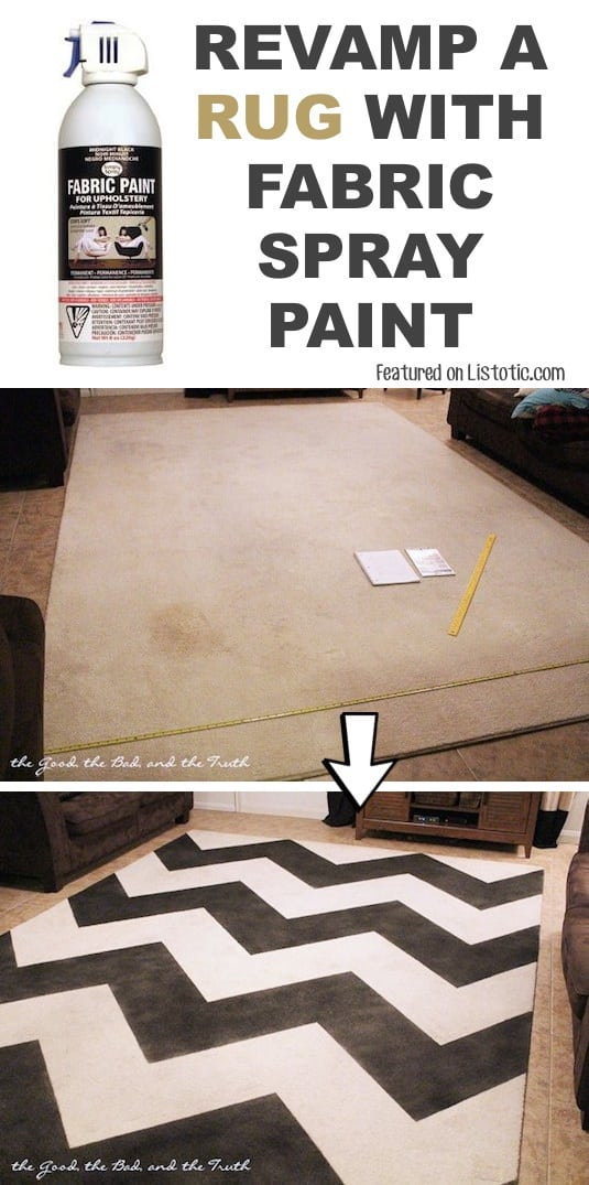 #19. Overhaul an old rug with spray paint! -- 29 Cool Spray Paint Ideas That Will Save You A Ton Of Money