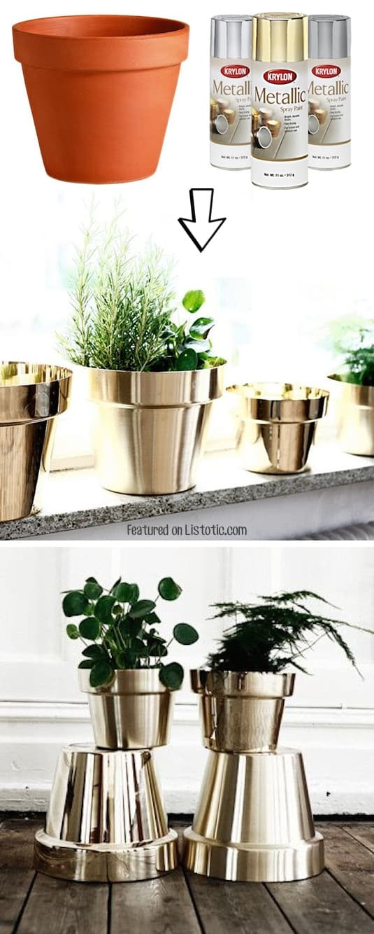 #2. Spray paint cheap terra cotta pots! Pretty! -- 29 Cool Spray Paint Ideas That Will Save You A Ton Of Money