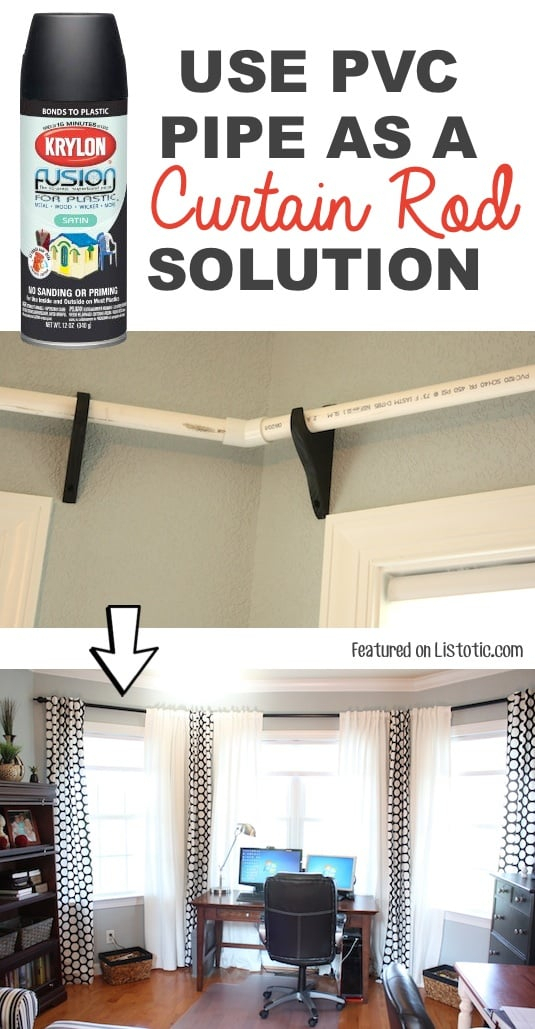DIY Home Hack for curtains -- Home decor ideas for cheap! Lots of Awesome and Easy DIY spray paint ideas for projects, home decor, wall art and furniture!! This makes refurbishing old things so much fun! Just visit thrift stores and dollar stores to make things on a budget! Listotic.com