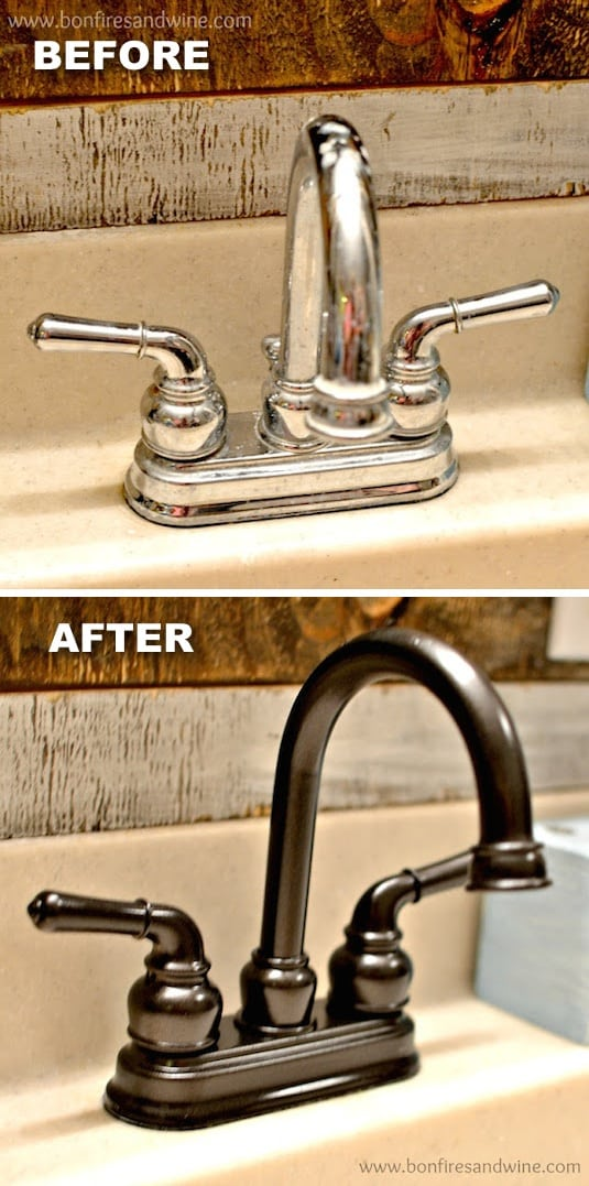 Revamp old faucets with spray paint! How to update a bathroom for cheap. -- Home decor ideas for cheap! Lots of Awesome and Easy DIY spray paint ideas for projects, home decor, wall art and furniture!! This makes refurbishing old things so much fun! Just visit thrift stores and dollar stores to make things on a budget! Listotic.com