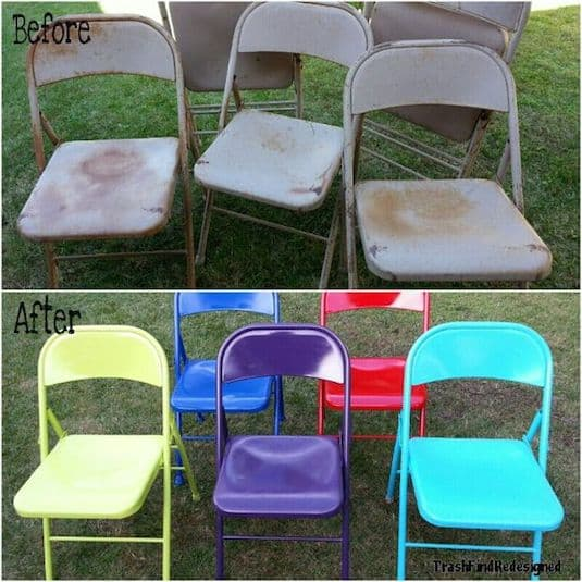 #28. Up-cycle old folding chairs with spray paint. -- 29 Cool Spray Paint Ideas That Will Save You A Ton Of Money