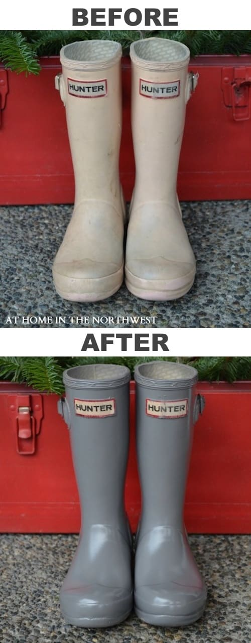 #3. Restore old rubber boots with spray paint! -- 29 Cool Spray Paint Ideas That Will Save You A Ton Of Money