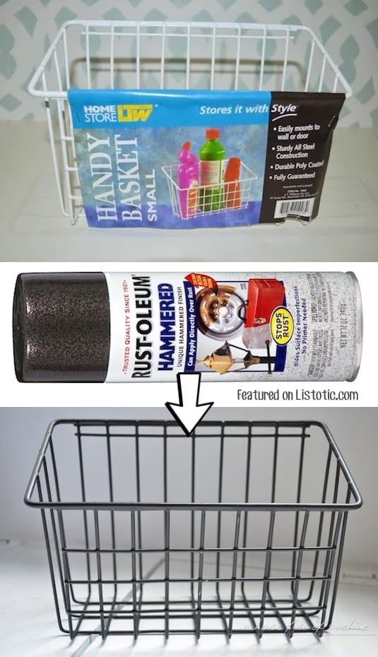 #5. DIY industrial wire baskets using spray paint! -- Home decor ideas for cheap! Lots of Awesome and Easy DIY spray paint ideas for projects, home decor, wall art and furniture!! This makes refurbishing old things so much fun! Just visit thrift stores and dollar stores to make things on a budget! Listotic.com