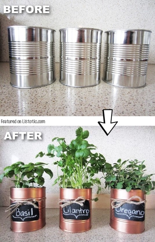#6. Don't throw away those tins cans, spray paint them and use them as pots, vases, or pencil organizers! -- Home decor ideas for cheap! Lots of Awesome and Easy DIY spray paint ideas for projects, home decor, wall art and furniture!! This makes refurbishing old things so much fun! Just visit thrift stores and dollar stores to make things on a budget! Listotic.com