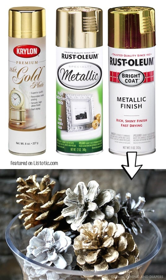 Spray paint pinecones for pretty and cheap Christmas decor! -- Home decor ideas for cheap! Lots of Awesome and Easy DIY spray paint ideas for projects, home decor, wall art and furniture!! This makes refurbishing old things so much fun! Just visit thrift stores and dollar stores to make things on a budget! Listotic.com
