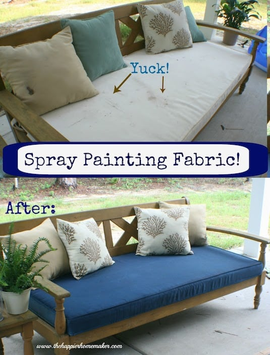 #8. Restore furniture cushions with fabric spray paint! -- Home decor ideas for cheap! Lots of Awesome and Easy DIY spray paint ideas for projects, home decor, wall art and furniture!! This makes refurbishing old things so much fun! Just visit thrift stores and dollar stores to make things on a budget! Listotic.com