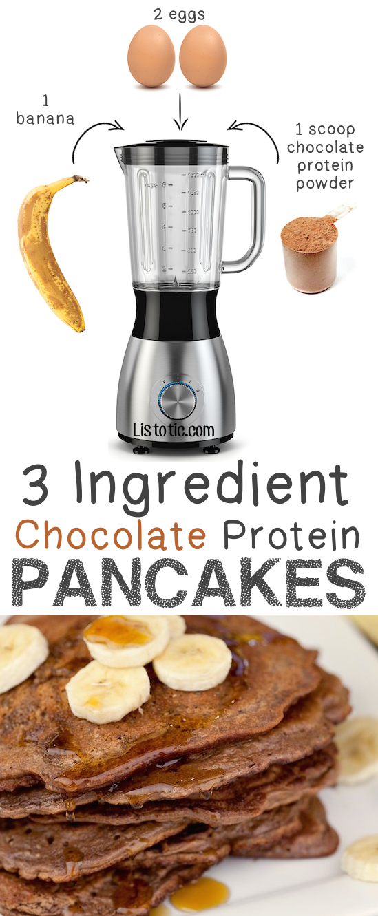 3 Ingredient Chocolate Protein Pancakes... gluten free breakfast! -- Quick, easy and healthy 3 ingredient snacks for kids, teens and adults! The perfect guilt-free treats and desserts! These recipes are perfect for weight loss and health. Listotic.com