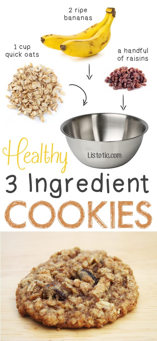 Healthy 3 Ingredient Oat Cookies.. so easy for on the go! -- Quick, easy and healthy 3 ingredient snacks for kids, teens and adults! The perfect guilt-free treats and desserts! These recipes are perfect for weight loss and health. Listotic.com