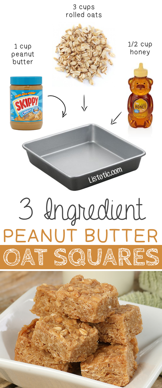 3 Ingredient No Bake Peanut Butter Oat Squares... great for on the go! -- Quick, easy and healthy 3 ingredient snacks for kids, teens and adults! The perfect guilt-free treats and desserts! These recipes are perfect for weight loss and health. Listotic.com