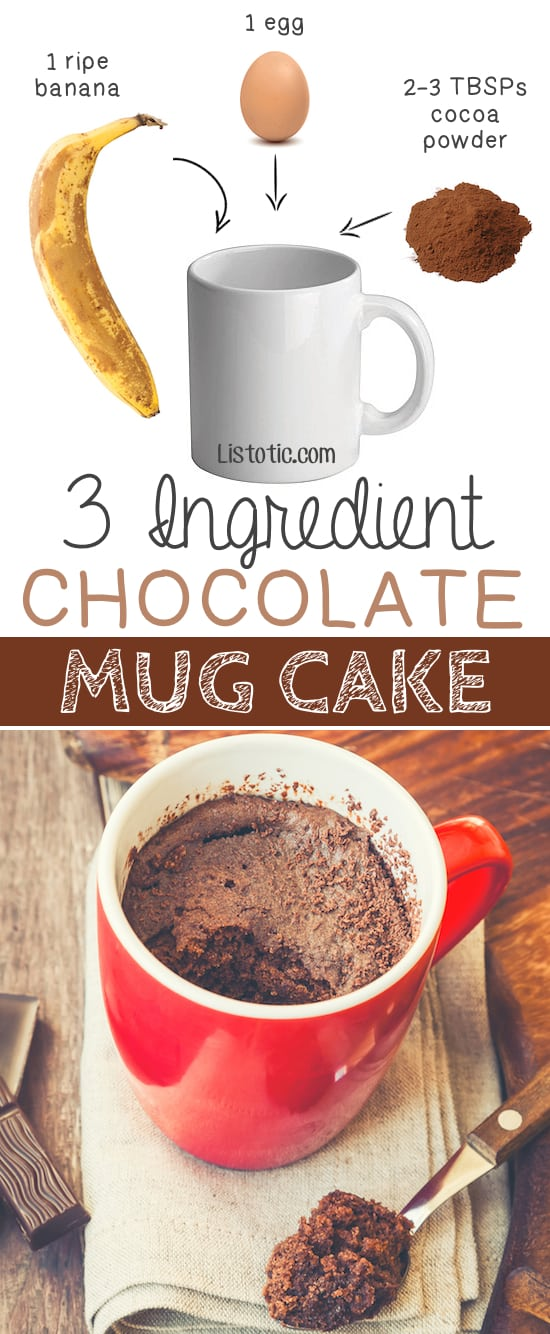 3 Ingredient Flourless Healthy Chocolate Mug Cake -- bakes in 1 minute in the microwave! | Quick, easy and healthy 3 ingredient snacks for kids, teens and adults! The perfect guilt-free treats and desserts! These recipes are perfect for weight loss and health. Listotic.com